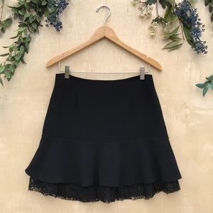 Zara Black Mini Skirt With Lace Layer